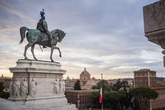Statue of the monument Vittorio Emanuele II dominating Rome. Italy royalty free stock image