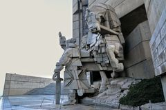 Statue in monumento di Shumen, Bulgaria Fotografia Stock