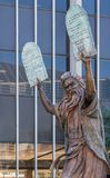 Statue of Moses at Christ Cathedral in Garden Grove, California. Garden Grove, California, USA - December 13, 2018: Crystal Christ Cathedral. Closeup of Bronze stock image