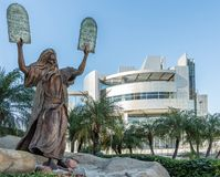 Statue of Moses at Christ Cathedral in Garden Grove, California. Garden Grove, California, USA - December 13, 2018: Crystal Christ Cathedral. Bronze statue of royalty free stock images