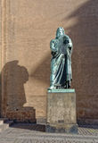 Statue of moses. Image taken of the statue of moses outside the church of our lady which is the cathedral of Copenhagen and also the National Cathedral of royalty free stock photo