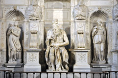 Statue of Moses by Michelangelo in the church of San Pietro in V Stock Image