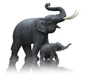 Statue of mother and baby elephant. Mother and baby elephant made ​​from the plaster mold formed by a hand-operated royalty free stock images
