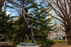 Statue of mother and son at Former Hokkaido Government Royalty Free Stock Image