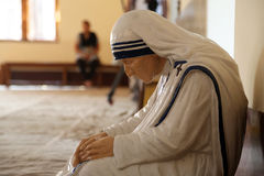 The statue of Mother Teresa in the chapel of the Mother House, Kolkata royalty free stock images