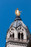 Statue of mother on the top of Basilique de Fourvi Royalty Free Stock Photos