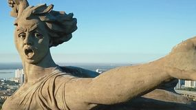Statue of Motherland in Volgograd. View from the drones close. Victory Monument. Volgograd, Russia - May 14, 2018: Statue of Motherland in Volgograd. View from stock image