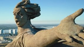 Statue of Motherland in Volgograd. View from the drones close. Victory Monument. Volgograd, Russia - May 14, 2018: Statue of Motherland in Volgograd. View from royalty free stock images