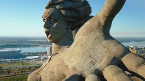 Statue of Motherland in Volgograd. View from the drones close. Victory Monument. Volgograd, Russia - May 14, 2018: Statue of Motherland in Volgograd. View from royalty free stock photography
