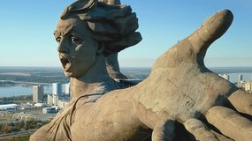 Statue of Motherland in Volgograd. View from the drones close. Victory Monument. Volgograd, Russia - May 14, 2018: Statue of Motherland in Volgograd. View from stock images