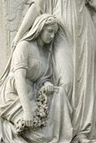 Statue of Mourning Woman at Cemetery Royalty Free Stock Photos