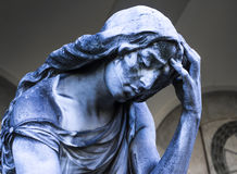 Statue of mourning woman. In a  cemetery near Tuscany Stock Photos