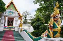 Statue naga front of buddhism temple. In Northeast of Thailand Stock Photo
