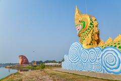 Statue of Naga and Phaya Kan Kark (or Toad King) Royalty Free Stock Photos