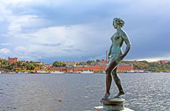 Statue of naked woman in Stockholm Royalty Free Stock Photos