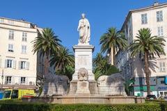 Statue of Napoleon Bonaparte in Roman garb. Ajaccio, France - July 7, 2015: Statue of Napoleon Bonaparte in Roman garb, historical center of Ajaccio stock photography