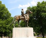 Statue of Nathan Bedford Forrest atop a War Horse, Memphis Tennessee. Nathan Bedford Forrest (July 13, 1821 – October 29, 1877) was a lieutenant general stock images