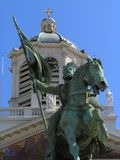 Statue of national hero in Brussels. Statue of Godefroid de Bouillon in Brussels on the 18-th century royal square. A national hero and famous crusader, once stock image