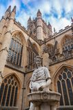 Statue near the Abbey Church of Bath, UK. Ancient fountain statue near the Abbey Church of St.Peter and St.Paul, commonly known as Bath Abbey. Anglican parish Stock Photography