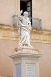 Statue near Cathedral of Siracusa. Royalty Free Stock Photos