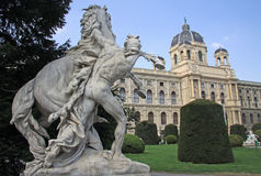 Statue near Museum of Natural History and the Art History Museum in Vienna, Austria Royalty Free Stock Photos