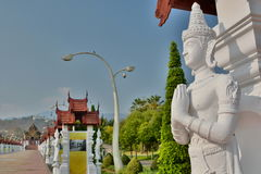 Statue near the royal pavillon. Royal Park Rajapruek. Chiang Mai province. Thailand Stock Photography