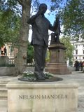 Statue of Nelson Mandela in London England Europe. stock images