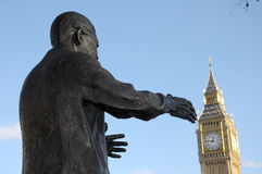 Statue of Nelson Mandela. In Parliament Square with Big Ben Stock Photography