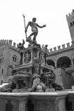Statue of Neptune in Bologna, Italy. The statue of Neptune on the main square of Bologna. Black and white photograph Royalty Free Stock Images