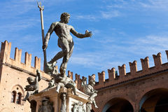 Statue of Neptune on Piazza del Nettuno in Bologna. In sunny day, Italy stock photography