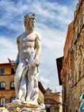 Statue of the Neptune on the Piazza della Signoria, Florence Stock Images