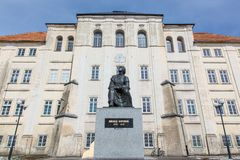 Copernicus statue and a planetarium in Piotrkow Stock Image