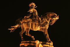 Statue at night at Buda castle. Statue at Buda castle at the far end Royalty Free Stock Images