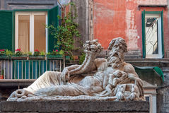Statue of the Nile God - Napoli. The marble statue of the Nile God in front of the church of Santa Maria Assunta dei Pignatelli - Naples, Campania, Italy royalty free stock photo
