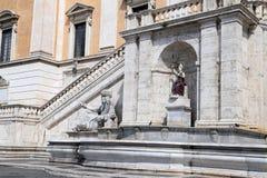 Statue of the Nile and the goddess Roma, Piazza del Campidoglio - Rome Royalty Free Stock Photo