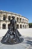 Statue Nimeño II, Arena von Nîmes, Frankreich Stockbild