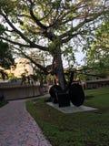 Statue noire de vélo de monument Photo stock
