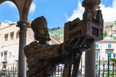 Statue of Norman king in Duomo di Monreale. MONREALE, ITALY - JUNE 25, 2011: statue of King William II offering his church to Virgin Mary in Duomo di Monreale stock photos