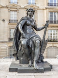 Statue of North America in front of d`Orsay Museum. PARIS, FRANCE - 25 AUGUST, 2013 - One of six statues representing six continents - North America, outside of stock photos