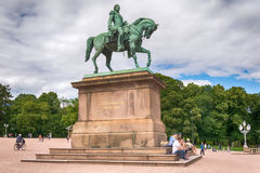 Statue of Norwegian King Karl Johan XIV in Oslo, Norway Royalty Free Stock Photos