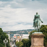 Statue of Norwegian King and main street Karl Stock Images