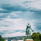 Statue of Norwegian King near Royal Palace in Oslo, Norway Stock Photo