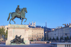Statue and Notre Dame de Fourviere Stock Photography