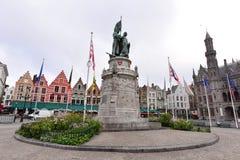 Statue Of Jan Breydel And Pieter De Coninck In The Centre Of Grote Markt Stock Image