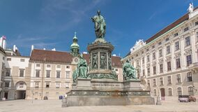 Free Statue Of Kaiser Franz Joseph I Timelapse Hyperlapse At The Hofburg Palace In Vienna. Stock Image - 217531611