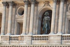 Statue Of Napoleon Bonaparte In His Uniform Looking Down From The Balcony Of Les Invalides Royalty Free Stock Image