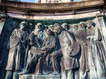Statue Of Queen Victoria In Lancaster England Standing Above Politicians, Artists And Writers Royalty Free Stock Photos