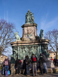 Statue Of Queen Victoria In Lancaster England Standing Above Politicians, Artists And Writers Stock Images