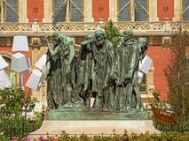 Statue Of The Citizens Of Calais In Front Of The City Hall Royalty Free Stock Photos