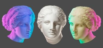 Free Statue Of Venus De Milo. Creative Concept Colorful Neon Image With Ancient Greek Sculpture Venus Or Aphrodite Head Stock Image - 180298421